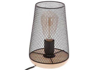 """Lampe en Métal & Bois """"Industriel"""" 23cm Noir - Paris Prix"""