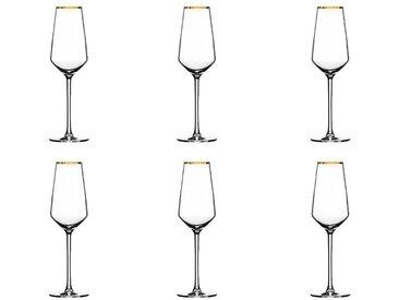 """Lot de 6 Flûtes à Champagne """"Milla"""" 21cl Or - Paris Prix"""