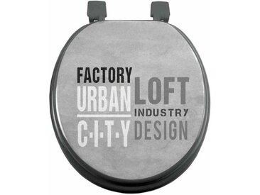 """Abattant WC Imprimé """"Urban Loft"""" 47cm Gris - Paris Prix"""