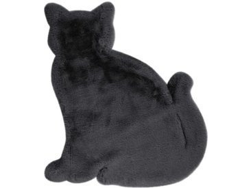 "Tapis Déco Enfant ""Lovely Cat"" 81x90cm Anthracite - Paris Prix"