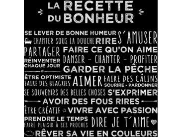 """Toile Imprimée """"Recette"""" 38x38cm Noir - Paris Prix"""