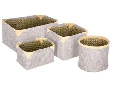 "Lot de 4 Paniers de Rangement Osier ""Dream"" Taupe - Paris Prix"