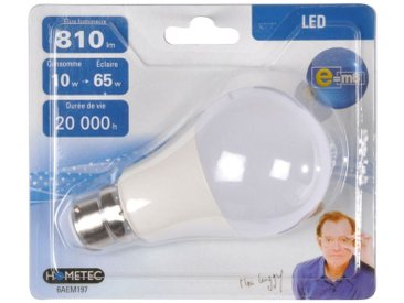 """Ampoule LED B22 """"Standard 10W"""" 11cm Blanc - Paris Prix"""