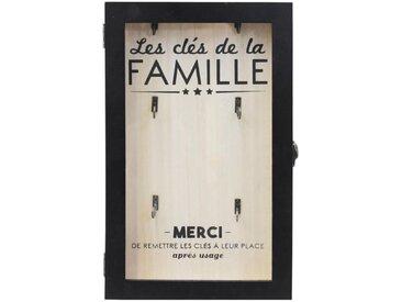 """Boîte à Clés en Bois """"La Famille"""" 30cm Naturel - Paris Prix"""
