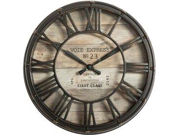 """Pendule Vintage """"Express"""" 21cm Marron - Paris Prix"""