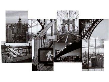 """Toile Imprimé 8 Photos """"City II"""" 74cm Noir & Blanc - Paris Prix"""