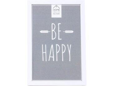 """Cadre Photo Design """"Be Happy"""" 10x15cm Blanc - Paris Prix"""