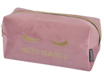 "Trousse de Maquillage Velours ""Hello"" 22cm Rose - Paris Prix"