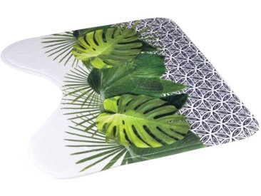 "Tapis Contour WC ""Graphic Jungle"" 45x45cm Vert - Paris Prix"