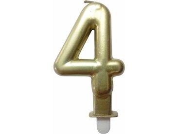 """Bougie d'Anniversaire """"Chiffre 4"""" 7cm Or - Paris Prix"""