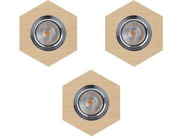 """Lot de 3 Spots Encastrables Hexagone LED """"Bois"""" 11cm Beige"""