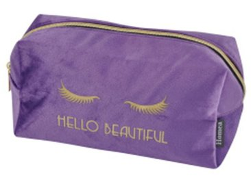 "Trousse de Maquillage Velours ""Hello"" 22cm Violet - Paris Prix"