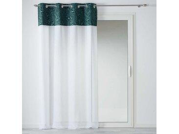 "Rideau Voilage à Œillets ""Ikaria"" 140x240cm Blanc & Vert"