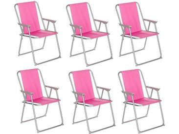 "Lot de 6 Chaises de Camping Pliantes ""Grecia"" 74cm Rose - Paris Prix"