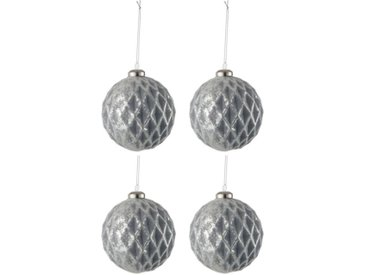 "Lot de 4 Boules de Noël ""Carreau"" 10cm Gris - Paris Prix"