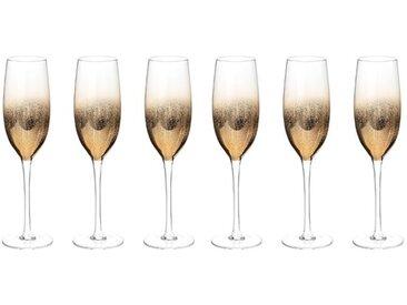 """Lot de 6 Flûtes à Champagne """"Dahlia"""" 23cl Or - Paris Prix"""