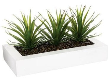 "Centre de Table Aloe Vera ""Plant"" 31cm Blanc - Paris Prix"