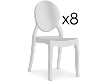 "Lot de 8 Chaises Médaillon ""Beauty"" 89cm Blanc - Paris Prix"