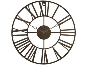 """Pendule Vintage en Métal """"Time"""" 36cm Marron - Paris Prix"""