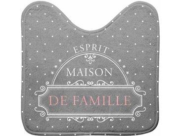 """Tapis Contour WC """"Maison de Famille"""" 45x45cm Gris - Paris Prix"""