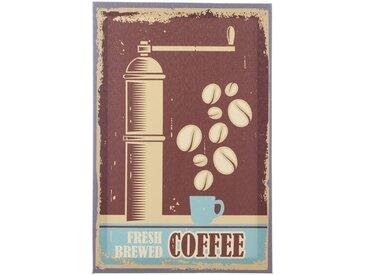 """Toile Imprimée Rétro 20x30cm """"Coffee"""" Marron - Paris Prix"""