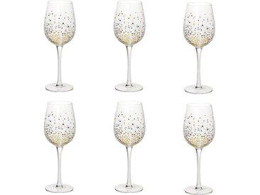 """Lot de 6 Verres à Vin Design """"Jeanne"""" 38cl Or - Paris Prix"""