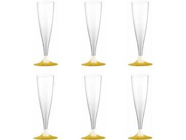 """Lot de 6 Flûtes à Champagne """"Plastique"""" 14cl Or - Paris Prix"""