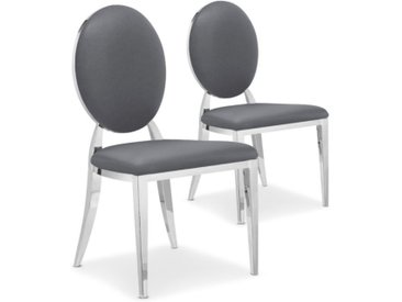 "Lot de 2 Chaises Médaillon Simili ""Tatianna"" 90cm Gris - Paris Prix"