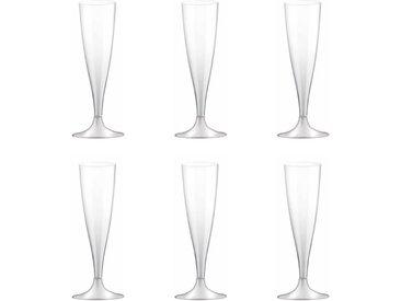 """Lot de 6 Flûtes à Champagne """"Plastique"""" 14cl Transparent"""