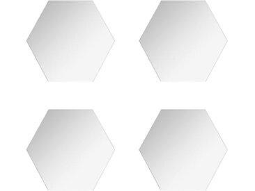 """Lot de 4 Miroirs Adhésifs """"Hexagone"""" 20x20cm Argent - Paris Prix"""