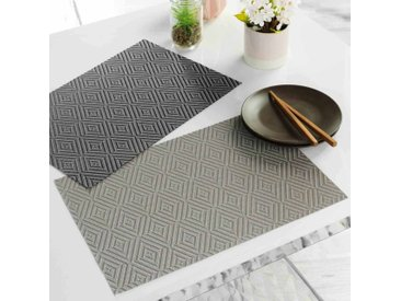 """Set de Table """"Hypnoz"""" 30x45cm Taupe & Blanc - Paris Prix"""
