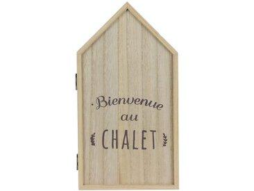 """Boîte à Clés Déco """"Bienvenue Au Chalet"""" 27cm Naturel - Paris Prix"""