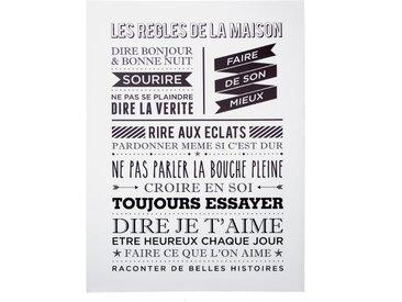 """Toile Imprimée """"Maison"""" 58x78cm Blanc - Paris Prix"""
