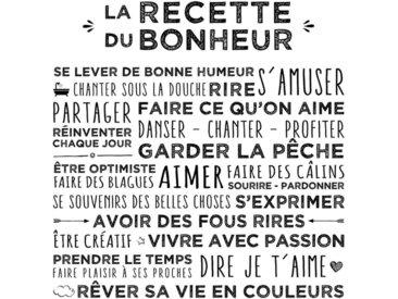"""Toile Imprimée """"Recette"""" 38x38cm Blanc - Paris Prix"""