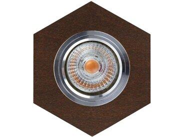 """Spot Encastrable Hexagone LED """"Bois"""" 11cm Marron - Paris Prix"""