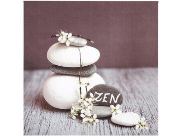 """Toile Imprimée Zen Stones """"Flowers"""" 28X28cm Gris Foncé - Paris Prix"""