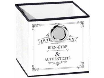 """Panier de Rangement Imprimé """"Vintage"""" 12cm Blanc - Paris Prix"""