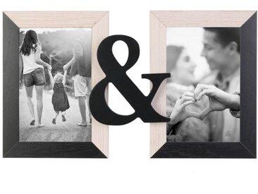 """Cadre Photo 2 Photos Design """"Toi & Moi"""" 31cm Noir - Paris Prix"""