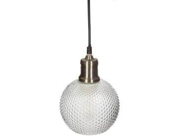 "Lampe Suspension Boule en Verre ""Iris"" 19cm Or - Paris Prix"