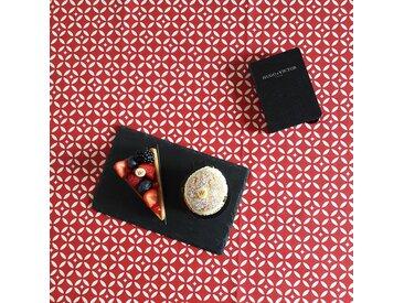 Nappe enduite Mosaïque rouge Dimension - Rectangle 160x200cm, Finition - Non ourlée (coupe franche), Matière - Coton enduit