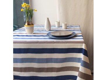 Nappe enduite Rayure taupe bleu Dimension - Carrée 160x160cm, Finition - Non ourlée (coupe franche), Matière - Coton enduit