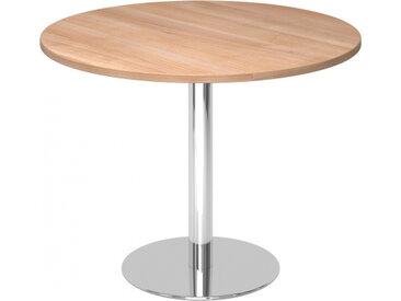 BISTRO F100R C - Système de tables conférence Noyer chrome Ø 100