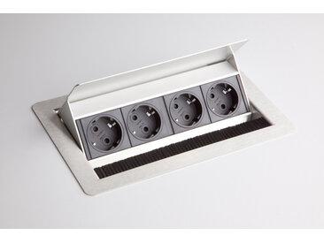 ELDOSE 1 | Bloc multiprises (montage incl.) | 4 x prises de courant - Argent