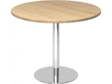 BISTRO F100R C - Système de tables conférence chrome Chêne Ø 100