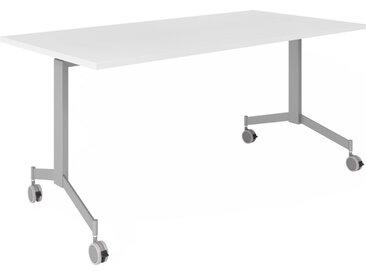 KALA 16 | Table pliante mobile | 160 cm | Argenté - Table de conférence Blanc