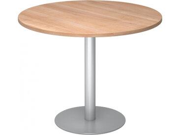 BISTRO F100R S - Système de tables conférence Noyer argent Ø 100