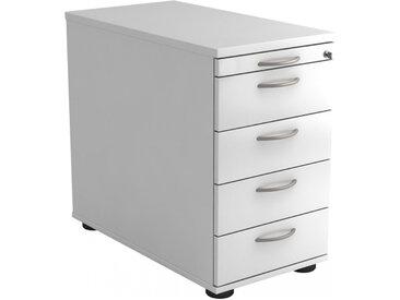 SIGNA SC50 BM - Caisson bureau sur roulettes Blanc avec 4 tiroirs poignée arche métal