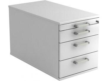 SIGNA TC30 CE - Caisson bureau sur roulettes Blanc avec 3 tiroirs poignée chrome métal