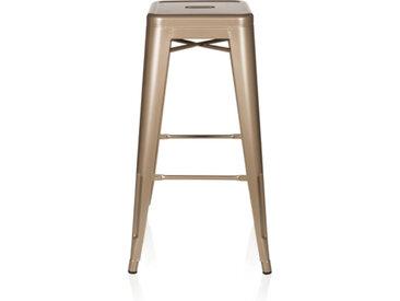 VANTAGGIO HIGH - Chaise haute de bar Champagne métallisé