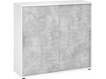 BETA 1753S - Armoire à portes coulissantes Blanc/Béton